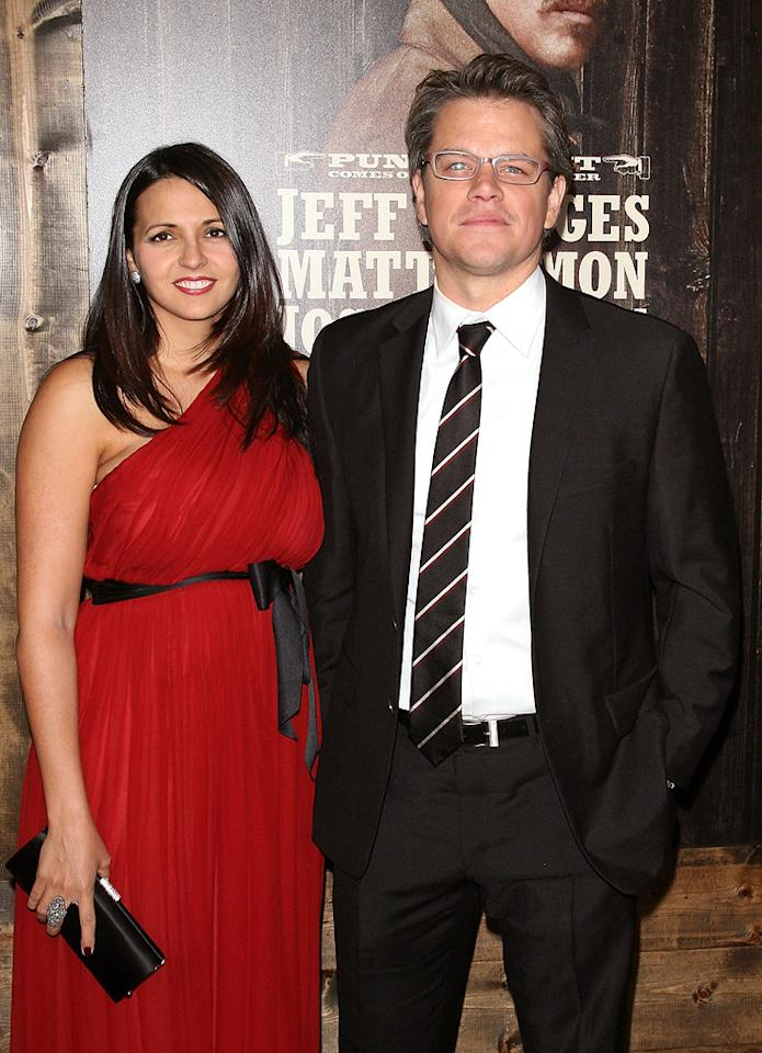 "<a href=""http://movies.yahoo.com/movie/contributor/1800020155"">Matt Damon</a> and wife Luciana at the New York City premiere of <a href=""http://movies.yahoo.com/movie/1810153253/info"">True Grit</a> on December 14, 2010."