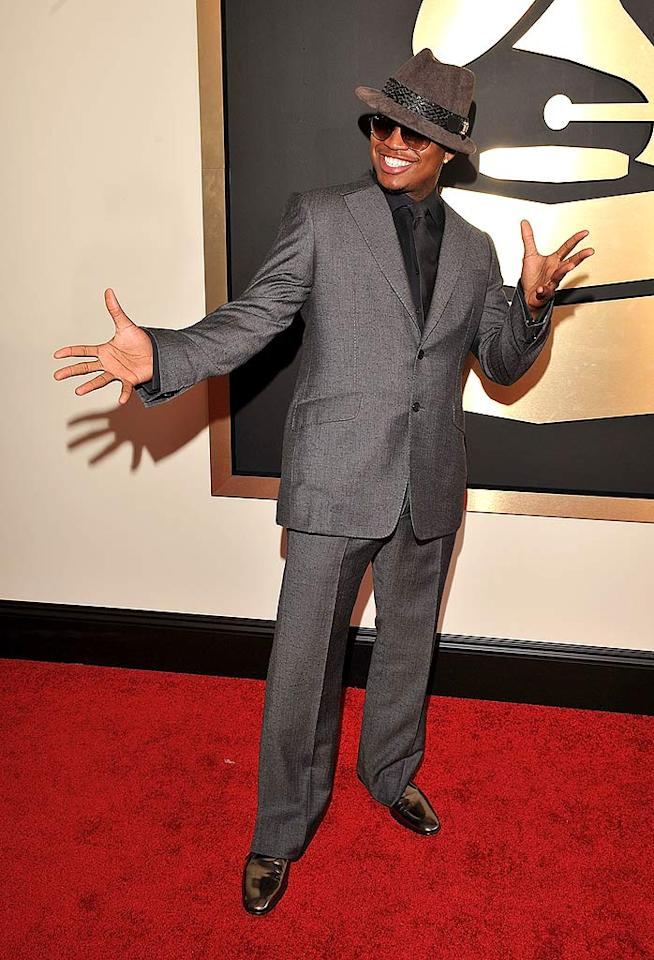 """Ne-Yo donned a dapper suit and a ridiculous hat for the evening's festivities. He also nabbed a Grammy for Best Contemporary RnB Album (""""Because of You""""). Lester Cohen/<a href=""""http://www.wireimage.com"""" target=""""new"""">WireImage.com</a> - February 10, 2008"""