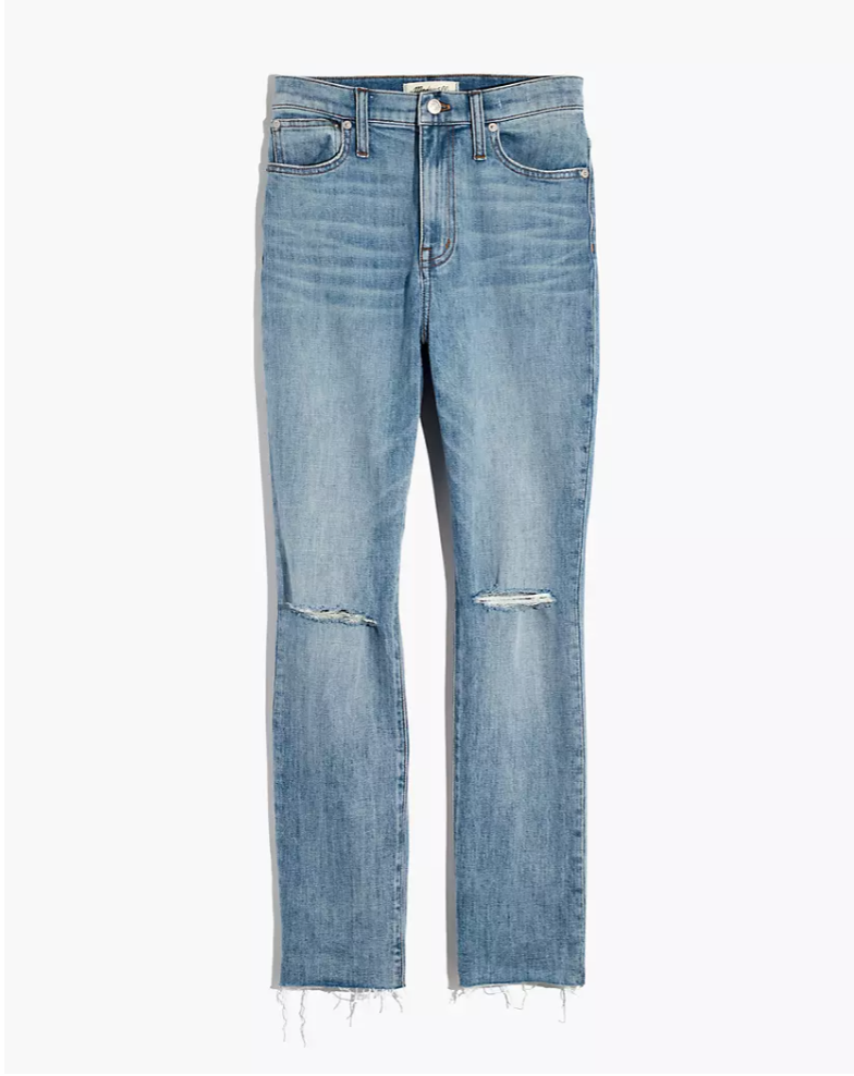 """<p><strong>Madewell</strong></p><p>madewell.com</p><p><a href=""""https://go.redirectingat.com?id=74968X1596630&url=https%3A%2F%2Fwww.madewell.com%2Fthe-high-rise-slim-boyjean-in-elkhart-wash-AJ235.html&sref=https%3A%2F%2Fwww.elle.com%2Ffashion%2Fshopping%2Fg34276887%2Fmadewell-jeans-sale-october-2020%2F"""" rel=""""nofollow noopener"""" target=""""_blank"""" data-ylk=""""slk:SHOP IT"""" class=""""link rapid-noclick-resp"""">SHOP IT</a></p><p><strong><del>$128</del> $75 (41% off)</strong></p><p>Finding a pair of slim jeans with a relaxed fit can be a nightmare. This laid-back pair (peep the ripped knees) solves that problem with a slight comfy stretch. If you love a cuffed jean look, note that these can easily be rolled up too. </p>"""