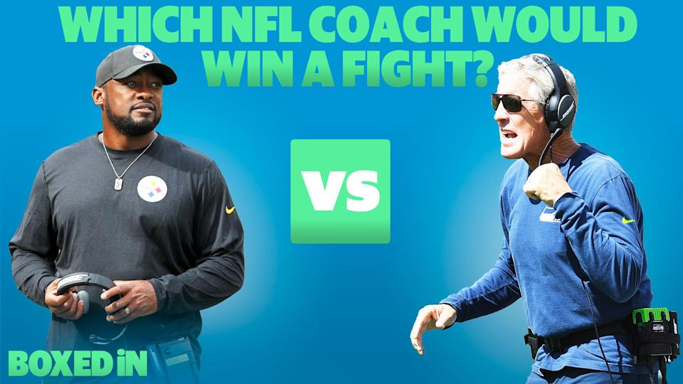 Liz Loza, Charles Robinson and comedian Roy Wood, Jr. debate which NFL coach is more likely to win a fight: Mike Tomlin or Pete Carroll. (Getty Images/Yahoo Sports)