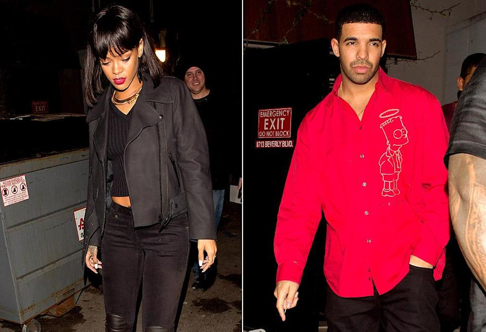 "<p>A few months later, Drake and Rihanna spent the most romantic day of the year partying together at Hooray Henry's in West Hollywood. Around the same time, Drake told <a href=""http://www.rollingstone.com/music/news/drake-high-times-at-the-yolo-estate-20140213"" rel=""nofollow noopener"" target=""_blank"" data-ylk=""slk:Rolling Stone"" class=""link rapid-noclick-resp""><i>Rolling Stone</i></a> that Rihanna was his ""ultimate fantasy."" He added, ""I mean, I think about it. Like, 'Man, that would be good.'"" Shortly after, it looked as if his fantasy was about to become a reality when Rihanna popped up at his concert in Paris. (Photo: Splash News) </p>"