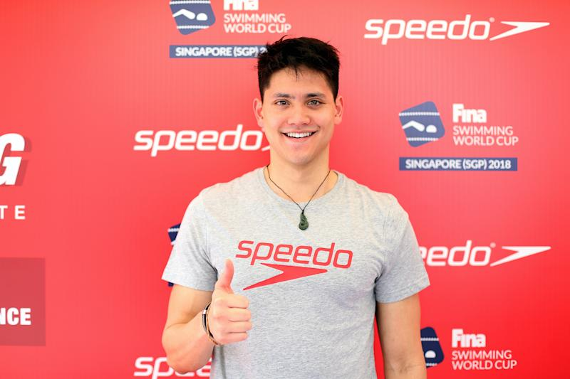 SINGAPORE, SINGAPORE - NOVEMBER 16: Joseph Schooling of Singapore during a meet and greet session on day two of the FINA Swimming World Cup at OCBC Aquatic Centre on November 16, 2018 in Singapore. (Photo by Lionel Ng/Getty Images)