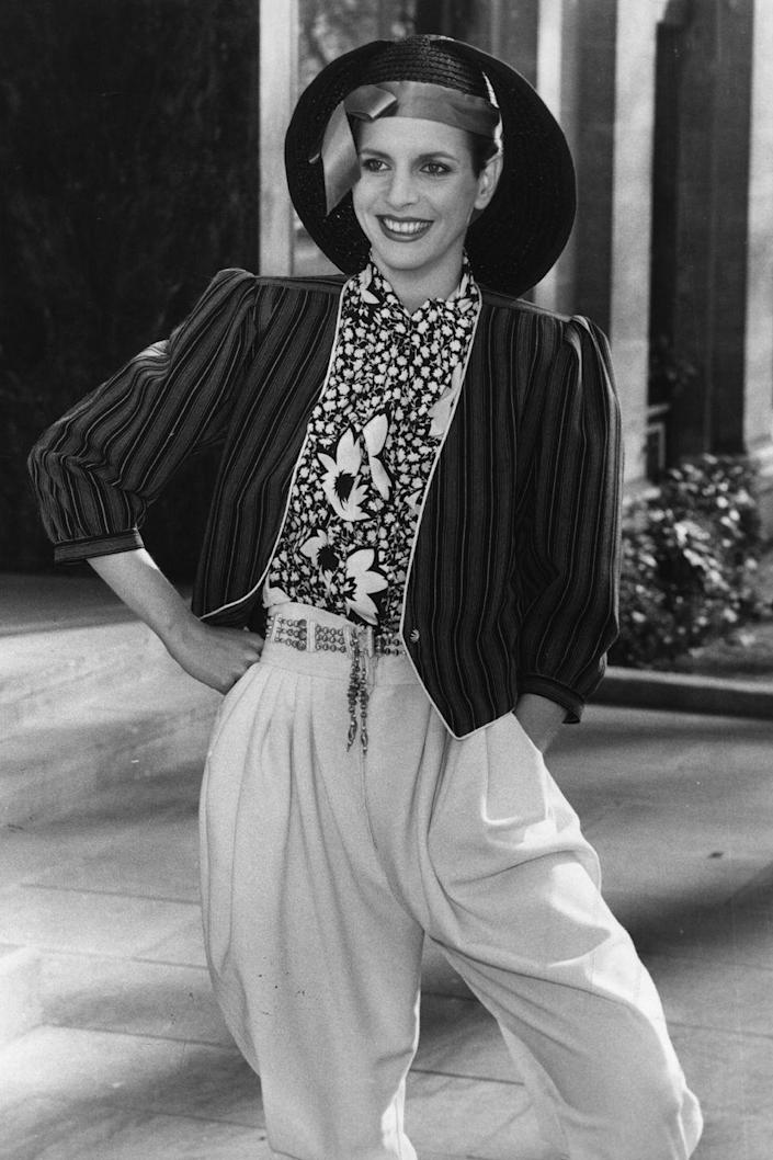 <p>A woman models Emanuel Ungaro's spring collection in London. </p>