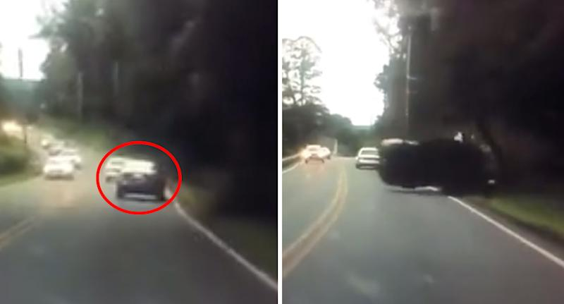 A motorist drives along a road (left) before dramatically flipping the car when they crashed into a pole (right).