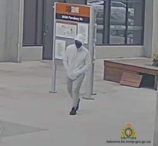 RCMP have released footage of a suspect in a double shooting in Kelowna July 31, 2021.  (Kelowna RCMP - image credit)