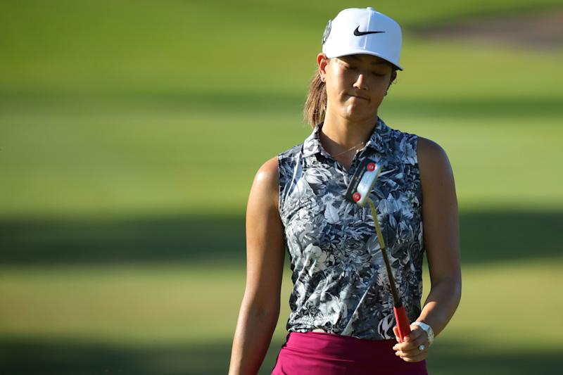 Michelle Wie reacts to a missed par put on the 16th green during the first round of the 2019 Lotte Championship.