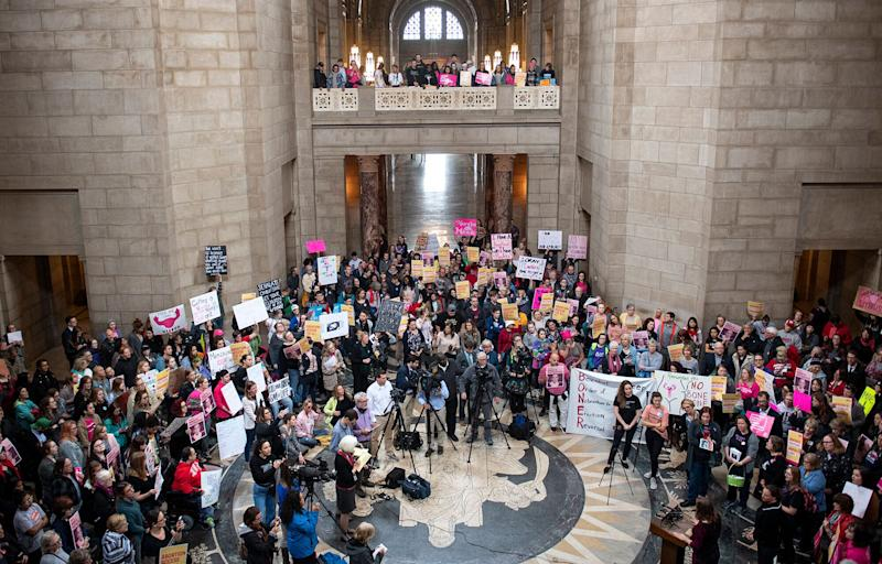 People gather in the Capitol Rotunda in Lincoln, Nebraska, for a reproductive freedom rally on Tuesday. (Photo: ASSOCIATED PRESS)
