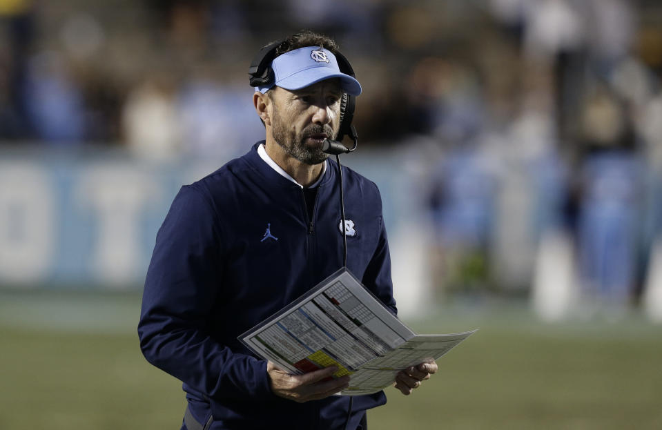 North Carolina head coach Larry Fedora is set to become Baylor's next offensive coordinator. (AP Photo/Gerry Broome)