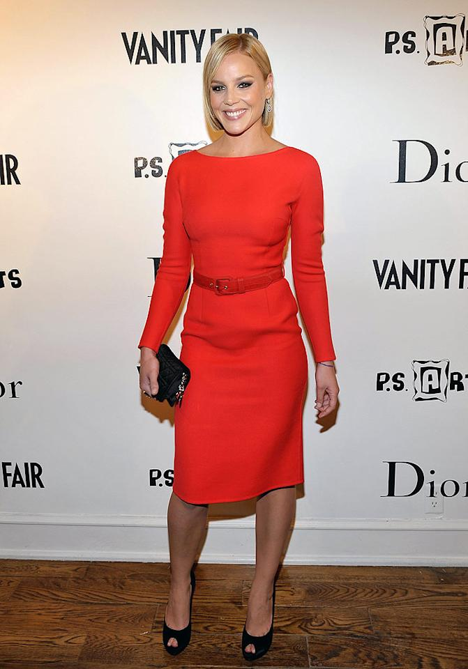 """Ryan Phillippe's ex-girlfriend Abbie Cornish looked chic in her sleek bob and belted red dress at the stylish soiree. Charley Gallay/<a href=""""http://www.gettyimages.com/"""" target=""""new"""">GettyImages.com</a> - March 1, 2010"""