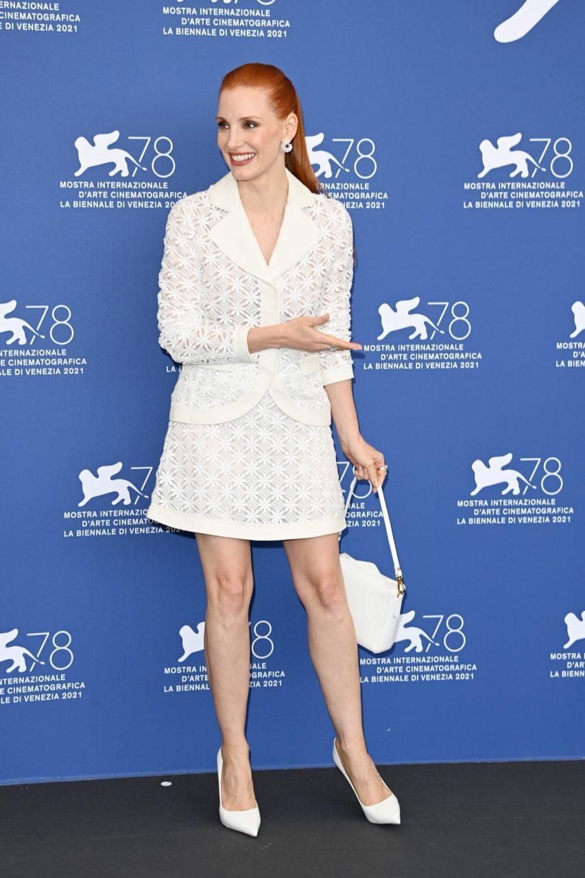 VENICE, ITALY - SEPTEMBER 04: Jessica Chastain attends the photocall of 'Scenes From A Marriage' during the 78th Venice International Film Festival on September 04, 2021 in Venice, Italy. (Photo by Daniele Venturelli/WireImage)