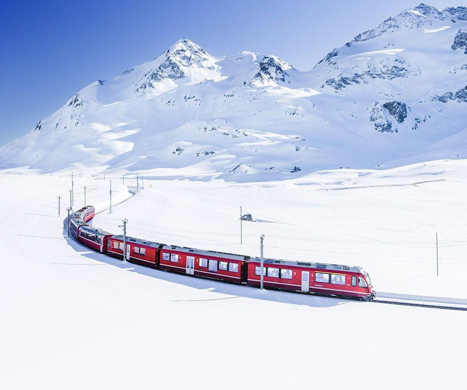 "<p>The bright red <a href=""https://www.countryliving.com/uk/travel-ideas/abroad/g28656911/glacier-express/"" rel=""nofollow noopener"" target=""_blank"" data-ylk=""slk:Glacier Express"" class=""link rapid-noclick-resp"">Glacier Express</a> is what winter dreams are made of. This magical experience dubbed the world's slowest express train (it is an eight-hour experience, after all), takes you over 291 bridges, through 91 tunnels and climbs to the top of the Oberalp Pass at 2,033 metres. You'll want to pack your camera!</p><p>Country Living has a five-day holiday in Switzerland that takes in all the charms of winter in 2022, from riding the Glacier Express to cruising Lake Thun.</p><p><a class=""link rapid-noclick-resp"" href=""https://www.countrylivingholidays.com/tours/switzerland-swiss-alps-glacier-express-tour"" rel=""nofollow noopener"" target=""_blank"" data-ylk=""slk:BOOK NOW"">BOOK NOW</a></p>"