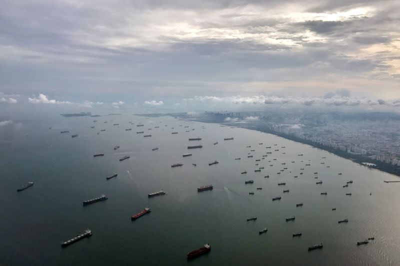 FILE PHOTO: A bird's-eye view of ships along the coast in Singapore