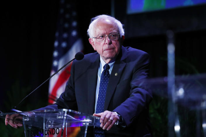 Democratic presidential candidate Sen. Bernie Sanders, I-Vt., pauses while speaking during a forum on Friday, June 21, 2019, in Miami.   Brynn Anderson—AP