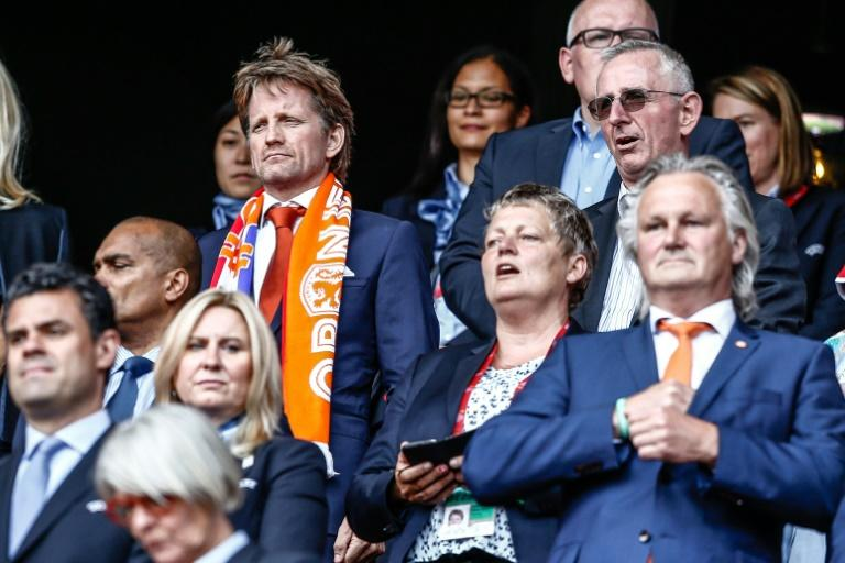 Dutch Prince Pieter-Christiaan (L) attends the UEFA Women's Euro 2017 tournament final match between Netherlands and Denmark, at FC Twente Stadium in Enschede, on August 6, 2017