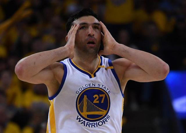 "<a class=""link rapid-noclick-resp"" href=""/nba/players/3745/"" data-ylk=""slk:Zaza Pachulia"">Zaza Pachulia</a> reacted with surprise to being whistled for a foul on <a class=""link rapid-noclick-resp"" href=""/nba/players/4896/"" data-ylk=""slk:Kawhi Leonard"">Kawhi Leonard</a>. (Getty)"