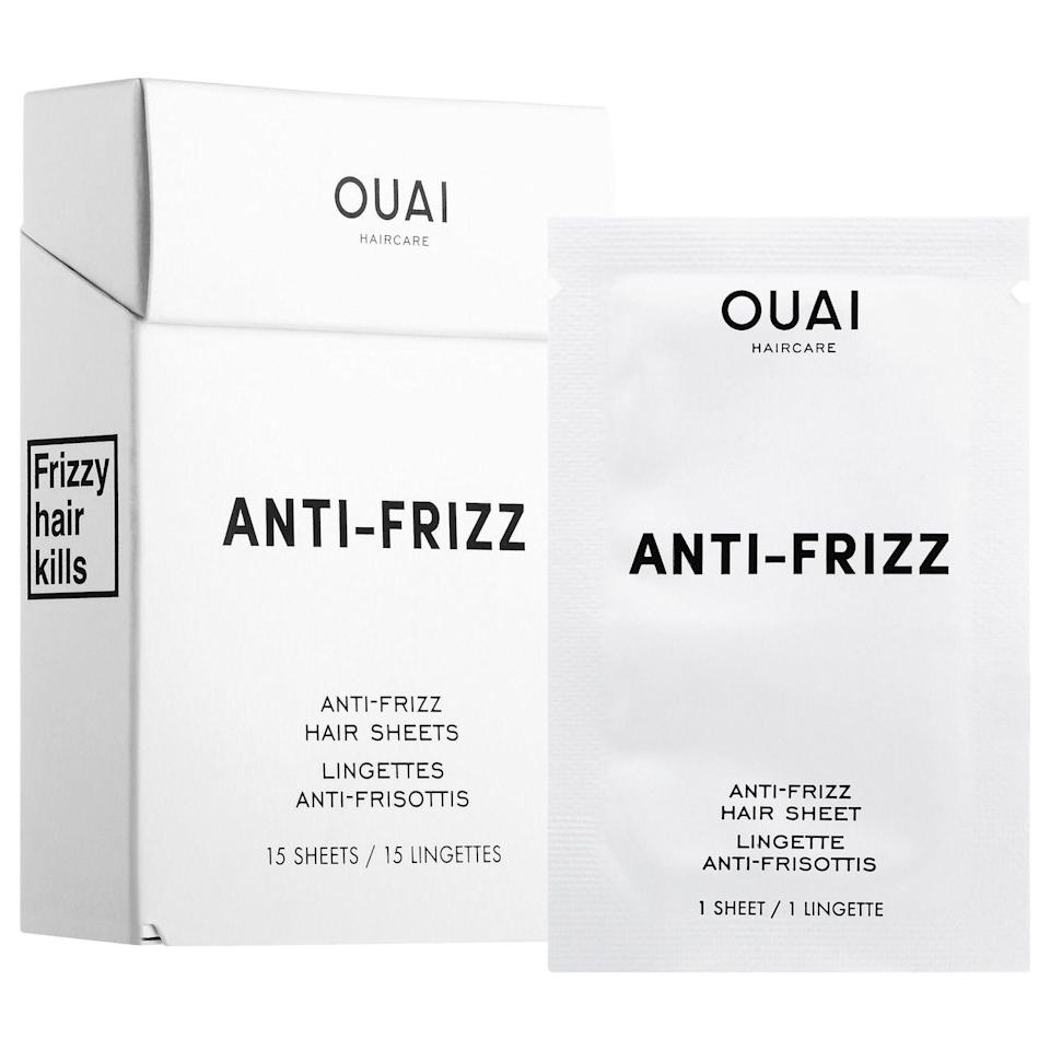 """<p><strong>OUAI</strong></p><p>amazon.com</p><p><strong>$39.99</strong></p><p><a href=""""https://www.amazon.com/OUAI-Anti-Frizz-Hair-Sheets/dp/B078WGVCSL/?tag=syn-yahoo-20&ascsubtag=%5Bartid%7C2141.g.30025627%5Bsrc%7Cyahoo-us"""" rel=""""nofollow noopener"""" target=""""_blank"""" data-ylk=""""slk:Shop Now"""" class=""""link rapid-noclick-resp"""">Shop Now</a></p><p>'Tis the season of gnarly static and frizzy strands in need of moisturizing. These sheets come in individual packets for on-the-go smoothing. Just swipe from roots to tip to add shine and say """"so long!"""" to flyaways.</p>"""