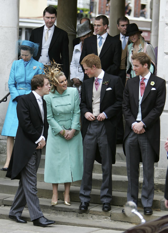 Laura and brother Tom, with Prince William and Harry at the wedding of their father, Prince Charles, to Laura's mother, Camilla Parker Bowles. (Photo: Getty Images)