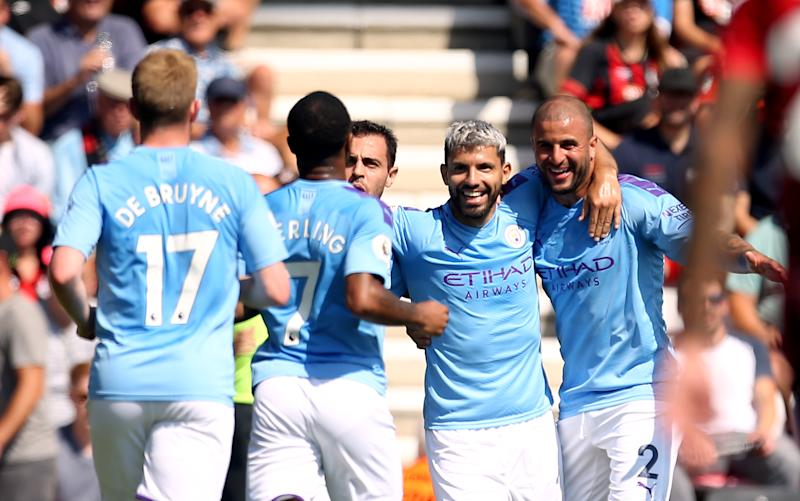 Manchester City's Sergio Aguero celebrates scoring his side's first goal of the game AFC Bournemouth v Manchester City - Premier League - Vitality Stadium 25-08-2019 . (Photo by Steven Paston/EMPICS/PA Images via Getty Images)
