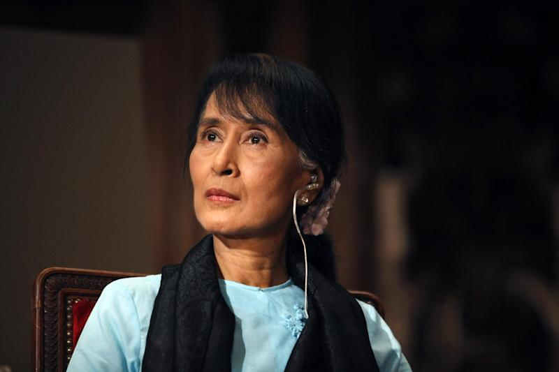 FILE - In this June 28, 2012 file photo, Myanmar opposition leader Aung San Suu Kyi visits Sorbonne University in Paris. (AP Photo/Thibault Camus, File)