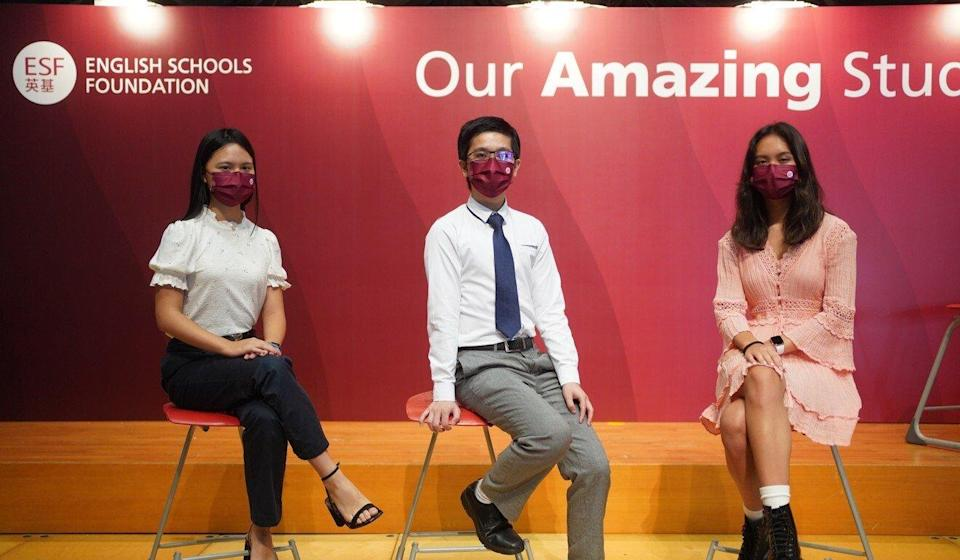 Emma Chow (left), Royce Leung and Maria Ho are among the ESF's 46 perfect scorers in this year's IB exams. Photo: Winson Wong