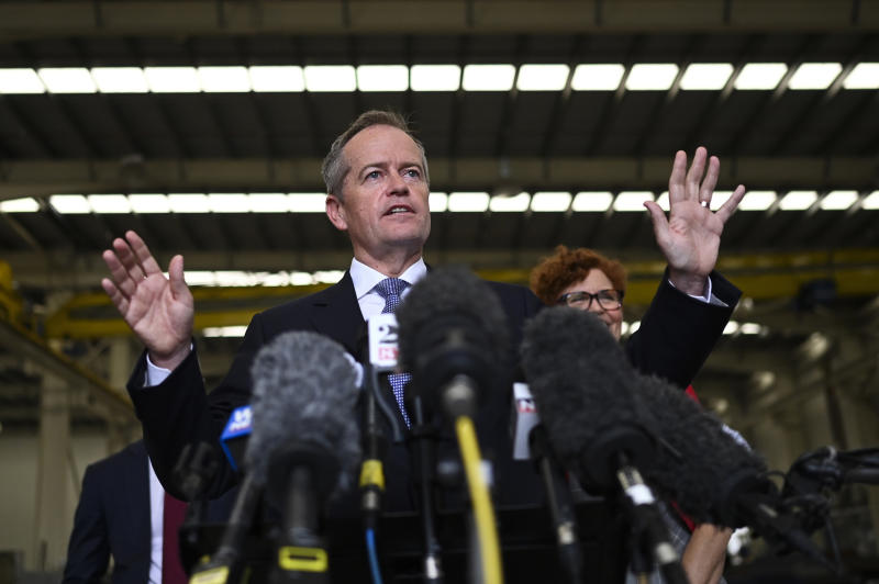 Australian opposition leader Bill Shorten speaks to the media during a press conference during a visit to a construction business in Townsville, Wednesday, April 24, 2019. Shorten and his political rival, Prime Minister Scott Morrison, say they are not tailoring their political messages to suit Chinese censors as the politicians increasingly use Chinese social media to woo Chinese-speaking voters. (Lukas Coch/AAP Image via AP)
