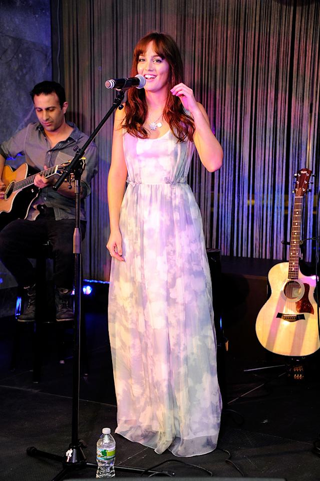 """Back in New York, """"Gossip Girl"""" star and aspiring crooner Leighton Meester showed off her vocal talent at Tiffany & Co. """"I still feel the rush from last night,"""" she tweeted on Friday. Andrew H. Walker/<a href=""""http://www.gettyimages.com/"""" target=""""new"""">GettyImages.com</a> - September 8, 2011"""