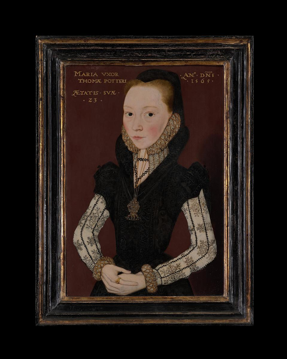 Portrait of Mary Potter, née Tichborne by Master of the Countess of Warwick, 1565Phillip Mould & Company