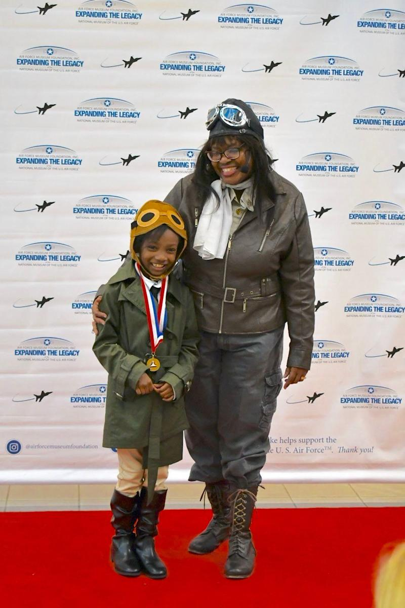 Noa Lewis poses with Gigi Coleman at the Air Force Museum Foundation's Living History Series. (Credit: Moniqua Lewis)
