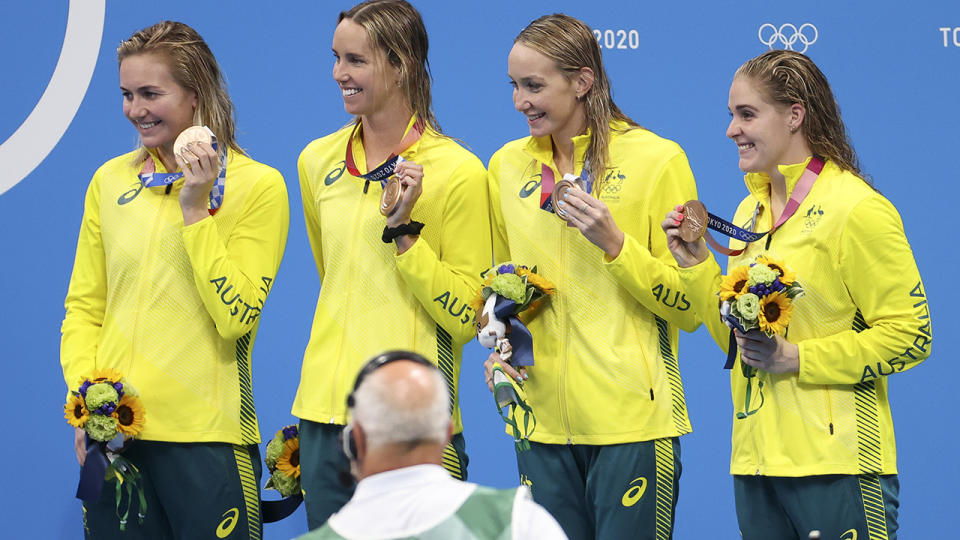 Ariarne Titmus, Emma McKeon, Madi Wilson and Leah Neale, pictured here with their bronze medals at the Tokyo Olympics.