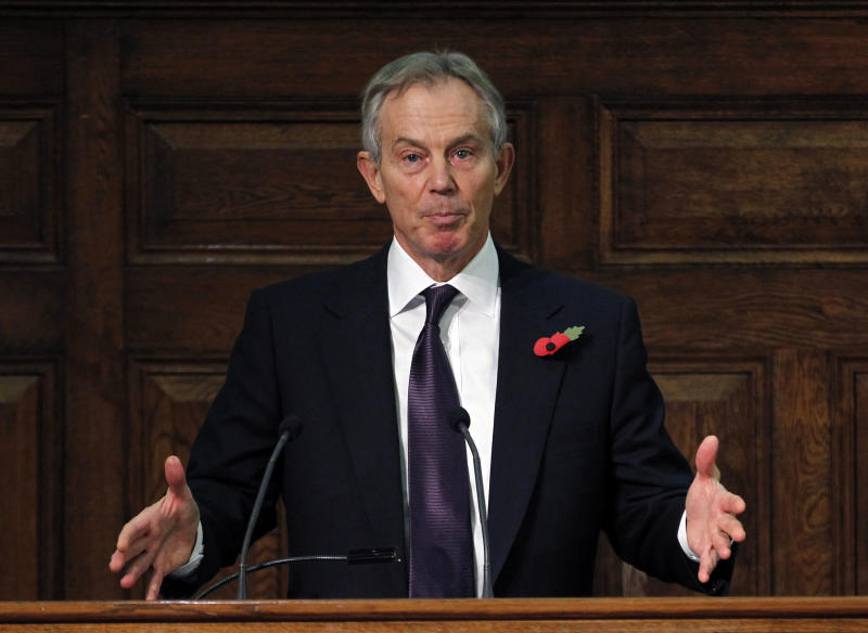 Former British Prime Minister Tony Blair addresses the delegates, at the Iraq Britain Business Council (IBBC) fourth annual conference in central London, Monday, Nov. 5, 2012. Former Prime Minister Tony Blair says British forces should be proud of their role in the U.S.-led invasion of Iraq, citing what he claimed is major progress made in the country since the toppling of Saddam Hussein in 2003. (AP Photo/Sang Tan, Pool)
