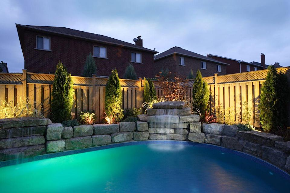 """<p>If you have a pool in the backyard, turn on those backyard lights and go for a romantic late-night swim—bathing suits optional. Note: although it's tempting to have sex in the pool, <a href=""""https://www.menshealth.com/sex-women/g27652618/pool-sex-tips/"""" rel=""""nofollow noopener"""" target=""""_blank"""" data-ylk=""""slk:you might want to wait until after you're out of the water"""" class=""""link rapid-noclick-resp"""">you might want to wait until after you're out of the water</a>.</p>"""