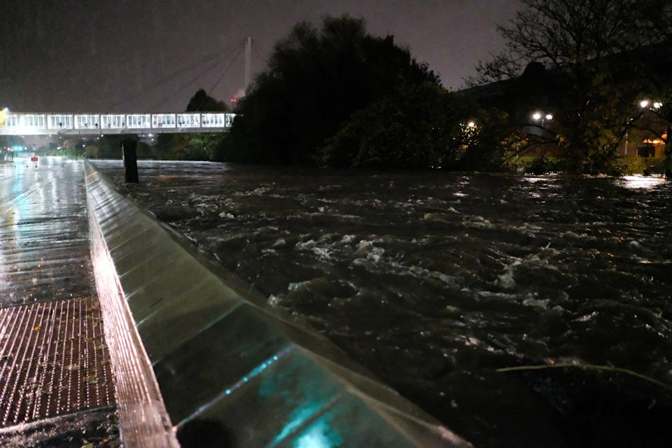 The River Don next to Meadowhall shopping centre in Sheffield, South Yorks  close to flowing over on Thursday. (SWNS)