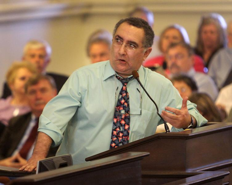State Rep. Tony Soldati reacts as he is called out of order after trying to re-introduce an amendment to a bill to repeal gay marriage, Wednesday, March 21, 2012 in Concord, N.H. Lawmakers rejected the bill that would have made tNew Hampshire the first to repeal a gay marriage law through legislation.(AP Photo/Jim Cole)
