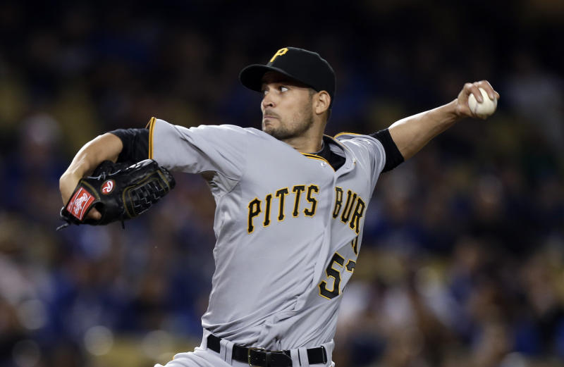 Pittsburgh Pirates starter Jonathan Sanchez pitches to the Los Angeles Dodgers in the second inning of a baseball game in Los Angeles on Friday, April 5, 2013. (AP Photo/Reed Saxon)