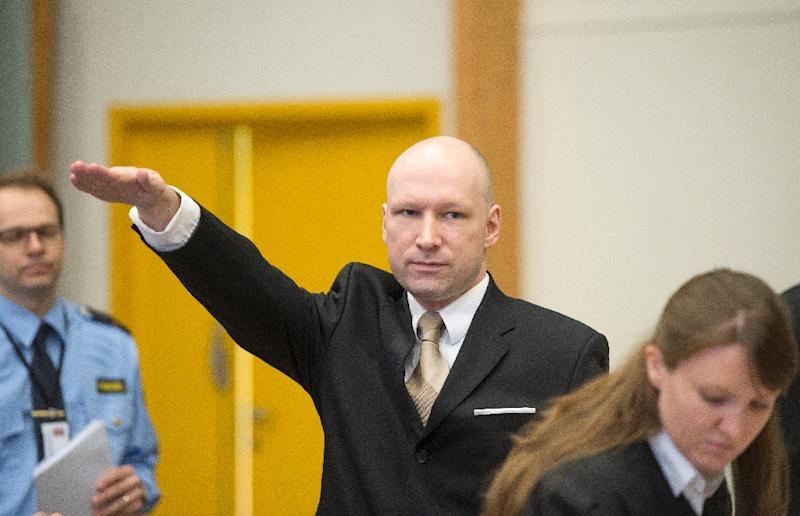 During the lower court's hearing, Breivik repeatedly provoked onlookers by making a Nazi salute and complaining about cold coffee and frozen meals (AFP Photo/Jonathan Nackstrand)