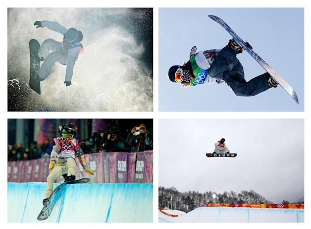 A combination picture shows snowboarder Shaun White of the U.S. competing in four consecutive Winter Olympics (L to R) Torino 2006 Winter Games, Vancouver 2010 Winter Games, Sochi Winter 2014 Olympic Games and Pyeongchang 2018 Winter Games. REUTERS/ Dylan Martinez/ Mike Blake