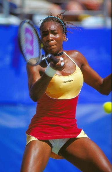 Known to have an eccentric style on tennis court, here's Venus Williams of the USA in action in the Women's Tennis Singles Second Round match at the NSW Tennis Centre on Day Six of the Sydney 2000 Olympic Games in Sydney, Australia.