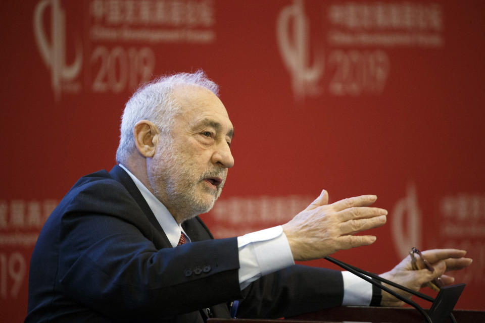 Columbia University Professor Joseph Stiglitz speaks at the China Development Forum in Beijing Sunday, March 24, 2019. (Thomas Peter/Pool Photo via AP)
