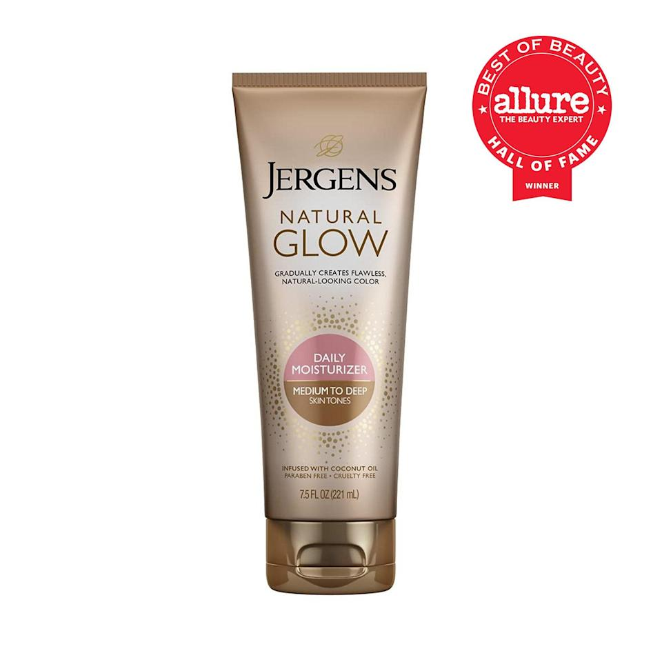 """<p>If the bronze bottle of Jergens Natural Glow Daily Moisturizer looks a bit trophy-esque, perhaps that's because it's surrounded by multiple <a href=""""https://www.allure.com/review/jergens-natural-glow-revitalizing-moisturizer?mbid=synd_yahoo_rss"""" rel=""""nofollow noopener"""" target=""""_blank"""" data-ylk=""""slk:Best of Beauty and Readers' Choice Awards"""" class=""""link rapid-noclick-resp"""">Best of Beauty and Readers' Choice Awards</a>. The long-time go-to self-tanner for people who are nervous to use <a href=""""https://www.allure.com/gallery/self-tanners-under-20?mbid=synd_yahoo_rss"""" rel=""""nofollow noopener"""" target=""""_blank"""" data-ylk=""""slk:self-tanner"""" class=""""link rapid-noclick-resp"""">self-tanner</a>, the formula promises the kind of gradual build-up of color that doesn't feel quite as chaotic as a full-blown tan in a matter of minutes. """"And just like the color is more subtle than that of the full-blown self-tanners you may be used to, so is the scent,"""" says contributing editor Marci Robin. """"Sure, brands have come a long way in masking that telltale DHA smell, but Jergens mastered that long before the rest, and it's only gotten more pleasant to use and smell in recent years.""""</p> <p><strong>Best of Beauty Awards: 8</strong></p>"""