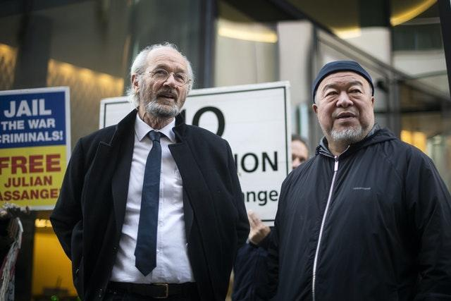 Julian Assange's father John Shipton with Chinese contemporary artist and activist Ai Weiwei (Victoria Jones/PA)