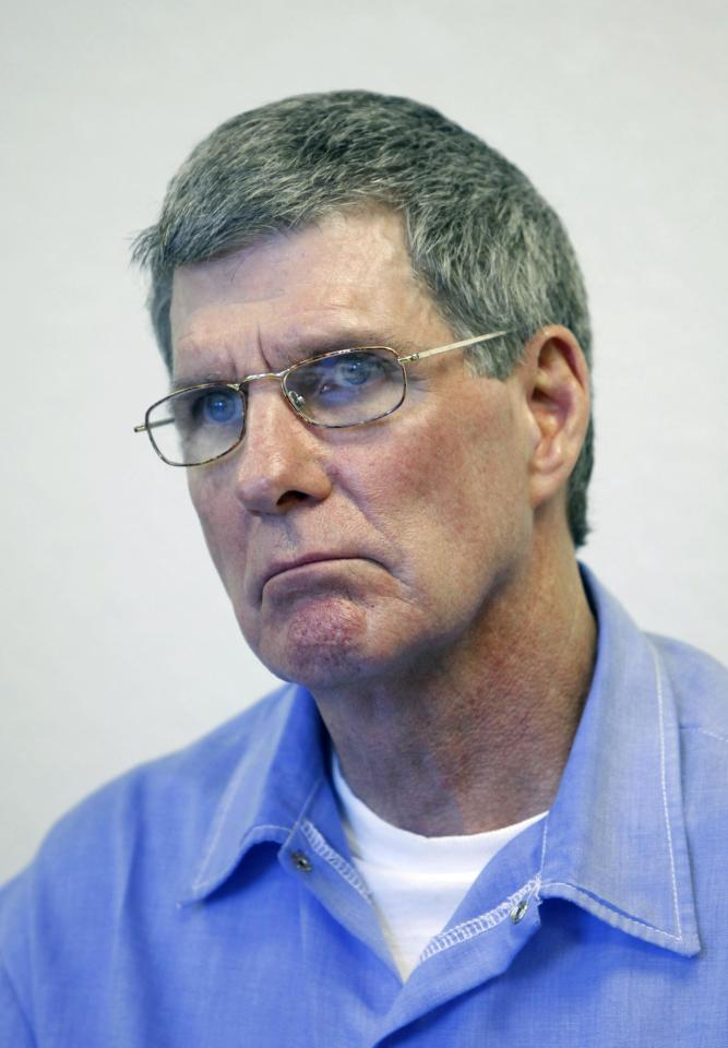 FILE - This Nov. 16, 2011, file photo shows Charles Tex Watson during a parole hearing at Mule Creek State Prison in Ione, Calif. A Texas judge is expected o decide Tuesday, May 29, 2012, whether eight hours of audio recordings of conversations between a the former Manson family member and his attorney should be given to Los Angeles police. Watson is serving a life sentence for his role in the 1969 Tate-La Bianca murders. (AP Photo/Rich Pedroncelli, File)