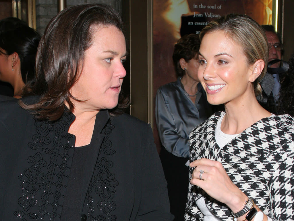 Rosie O'Donnell and Elizabeth Hasselbeck at the The Broadhurst Theater in New York, New York (Photo by Mychal Watts/WireImage)