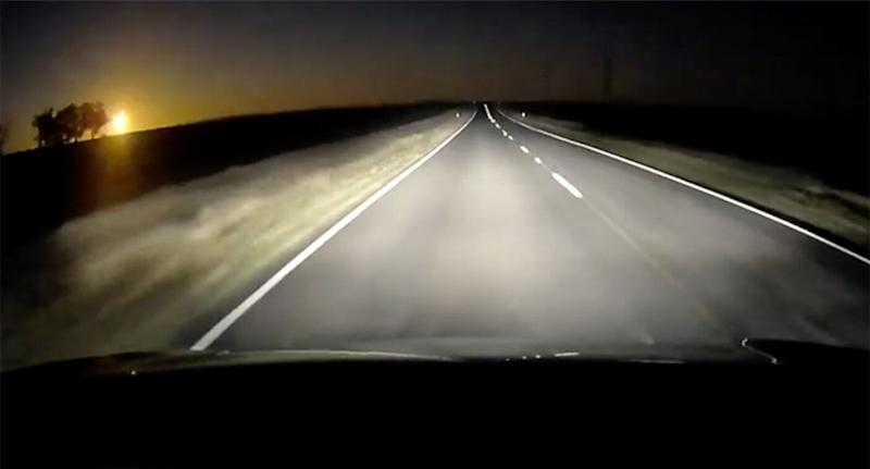 The suspected meteor was captured on dash cam on Tuesday while driving on Wimmera Highway at Newbridge in Victoria.