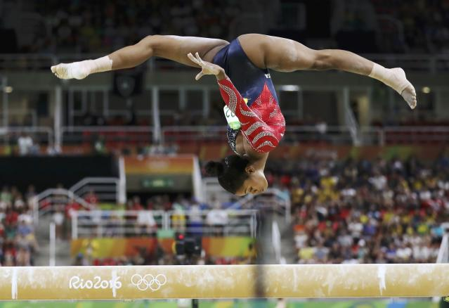2016 Rio Olympics - Artistic Gymnastics - Preliminary - Women's Qualification - Subdivisions - Rio Olympic Arena - Rio de Janeiro, Brazil - 07/08/2016. Gabrielle Douglas (USA) of USA (Gabby Douglas) competes on the beam during the women's qualifications. REUTERS/Damir Sagolj TPX IMAGES OF THE DAY. FOR EDITORIAL USE ONLY. NOT FOR SALE FOR MARKETING OR ADVERTISING CAMPAIGNS.