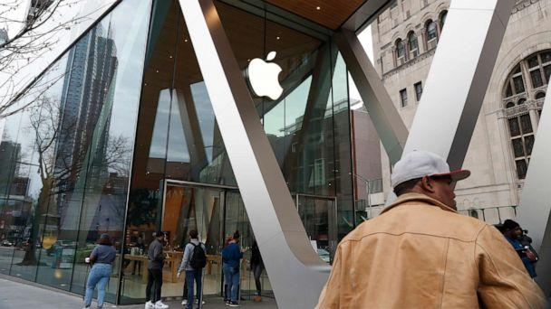 PHOTO: The facade of a closed downtown Brooklyn Apple store in viewed, March 14, 2020, in New York, after the tech giant announced it is closing all its stores outside of China for two weeks. (Kathy Willens/AP)