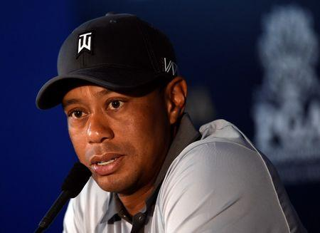 Aug 11, 2015; Sheboygan, WI, USA; Tiger Woods speaks at a press conference during a practice round for the 2015 PGA Championship golf tournament at Whistling Straits -The Straits Course. Mandatory Credit: Michael Madrid-USA TODAY Sports
