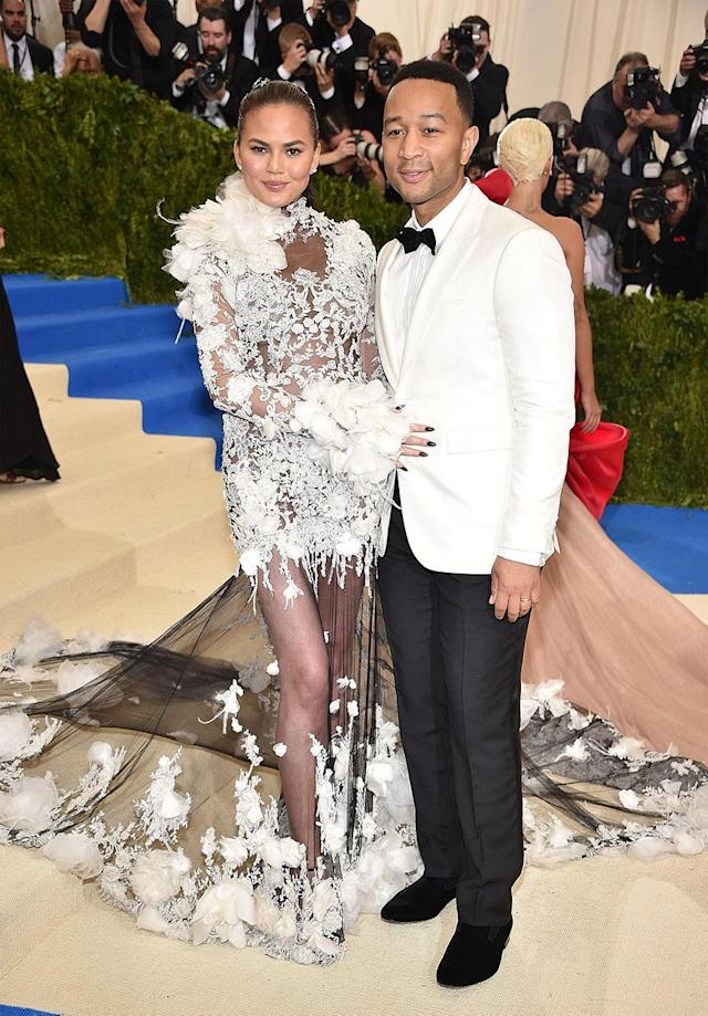 Chrissy Teigen and John Legend showed up and showed out together at the Met Gala earlier this month, but he went solo last night. (Photo: Kevin Mazur/WireImage)