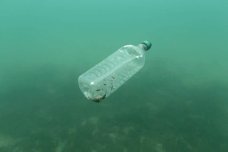 FILE PHOTO: A plastic bottle is seen floating in an Adriatic sea of the island Mljet
