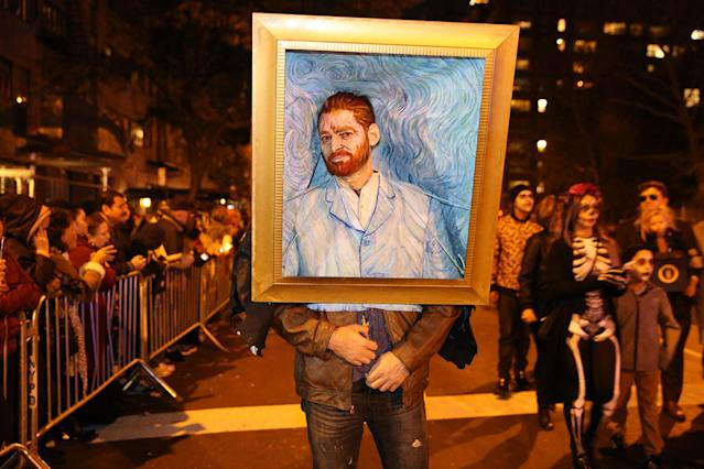 <p>A clever impressionist costume of painter Vincent Van Gogh is seen at the 44th annual Village Halloween Parade in New York City on Oct. 31, 2017. (Photo: Gordon Donovan/Yahoo News) </p>