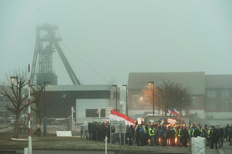 People block the main entrance of the Stocamine site during a demonstration in February, 2019